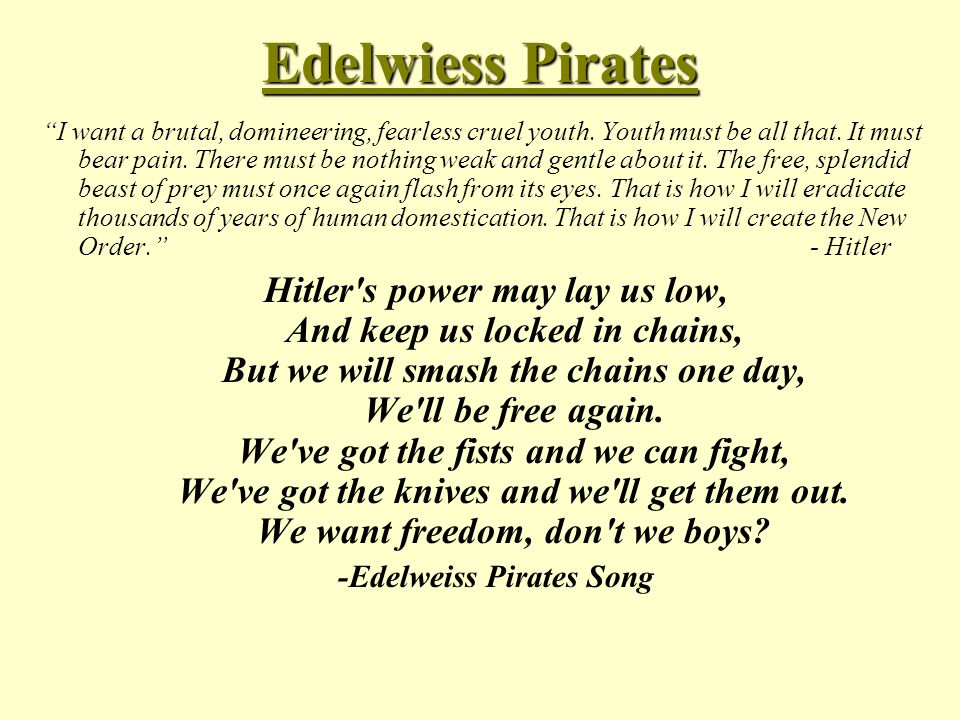 """Edelwiess Pirates """"I want a brutal, domineering, fearless cruel youth. Youth must be all that. It must bear pain. There must be nothing weak and gentl"""