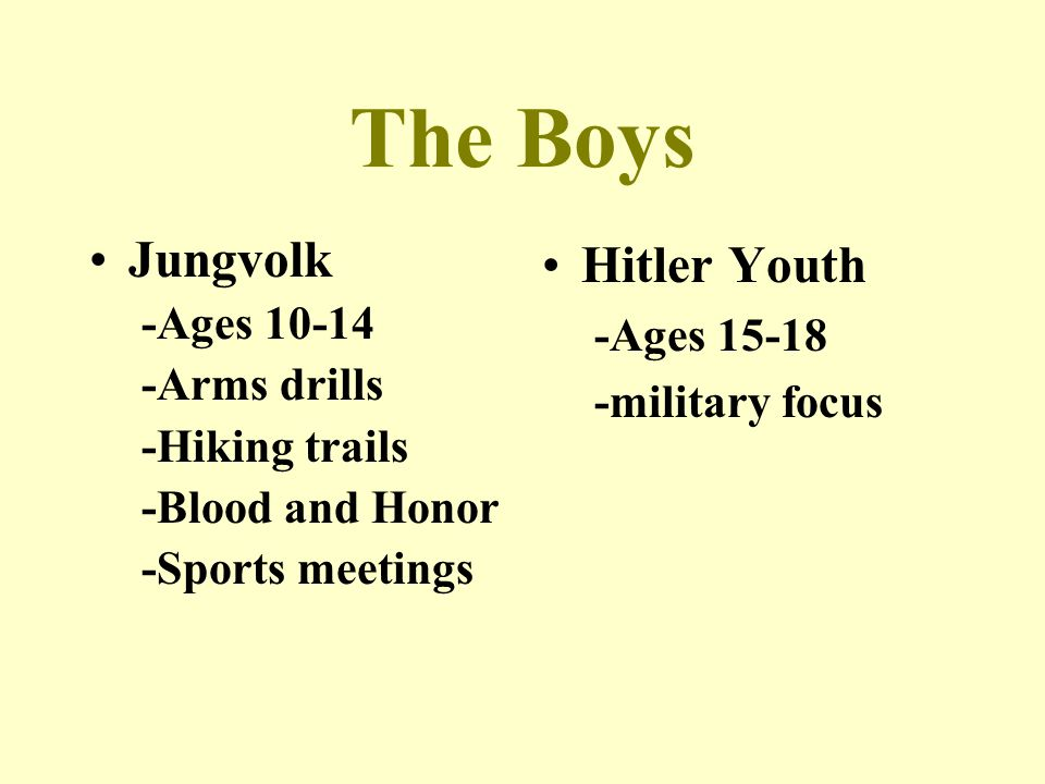 The Boys Jungvolk -Ages 10-14 -Arms drills -Hiking trails -Blood and Honor -Sports meetings Hitler Youth -Ages 15-18 -military focus