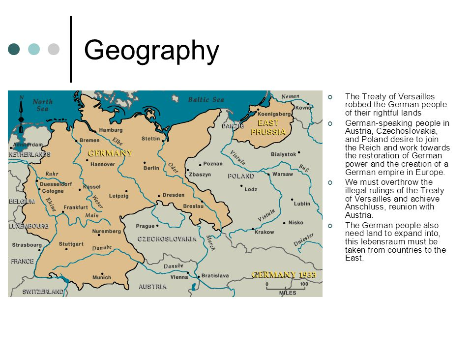 Geography The Treaty of Versailles robbed the German people of their rightful lands German-speaking people in Austria, Czechoslovakia, and Poland desire to join the Reich and work towards the restoration of German power and the creation of a German empire in Europe.