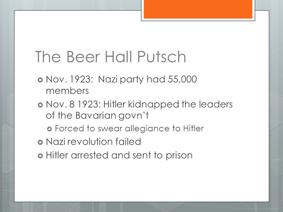 The Beer Hall Putsch  Nov. 1923: Nazi party had 55,000 members  Nov. 8 1923: Hitler kidnapped the leaders of the Bavarian govn't  Forced to swear a