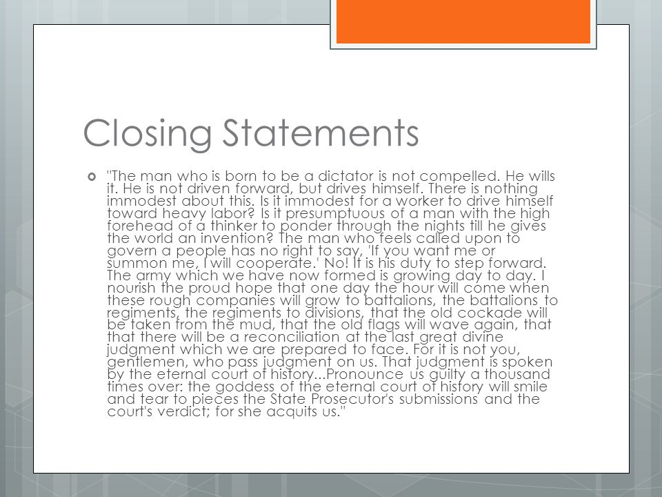 Closing Statements 