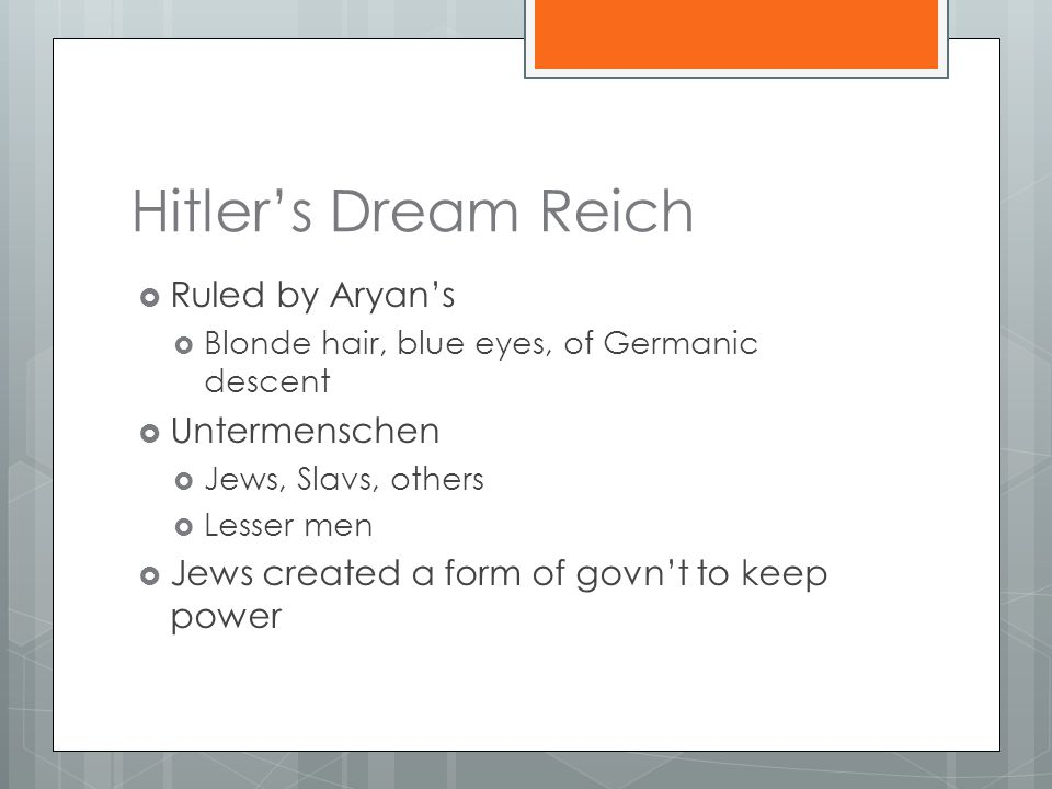 Hitler's Dream Reich  Ruled by Aryan's  Blonde hair, blue eyes, of Germanic descent  Untermenschen  Jews, Slavs, others  Lesser men  Jews created a form of govn't to keep power