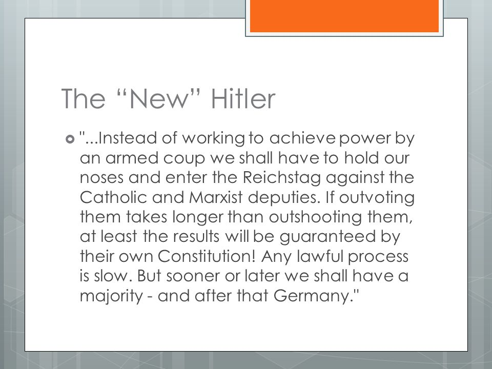 The New Hitler  ...Instead of working to achieve power by an armed coup we shall have to hold our noses and enter the Reichstag against the Catholic and Marxist deputies.