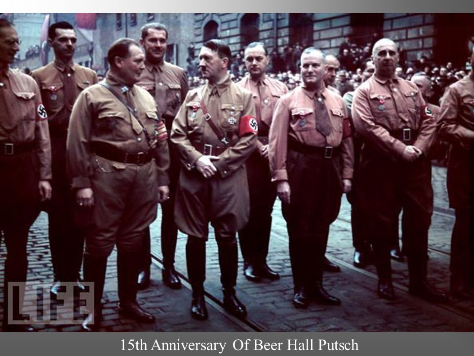 Beer Hall Putsch October 30, 1923 Hitler held a rally in Munich beer hall and declared revolution Led 2000 men in take over the Bavarian Government It