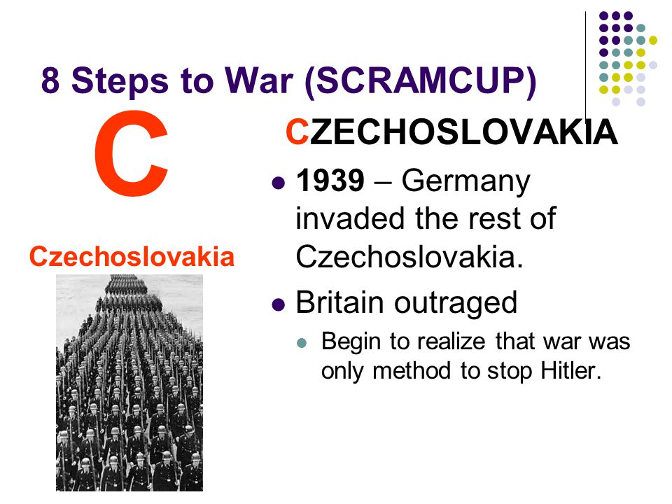 8 Steps to War (SCRAMCUP) CZECHOSLOVAKIA 1939 – Germany invaded the rest of Czechoslovakia.