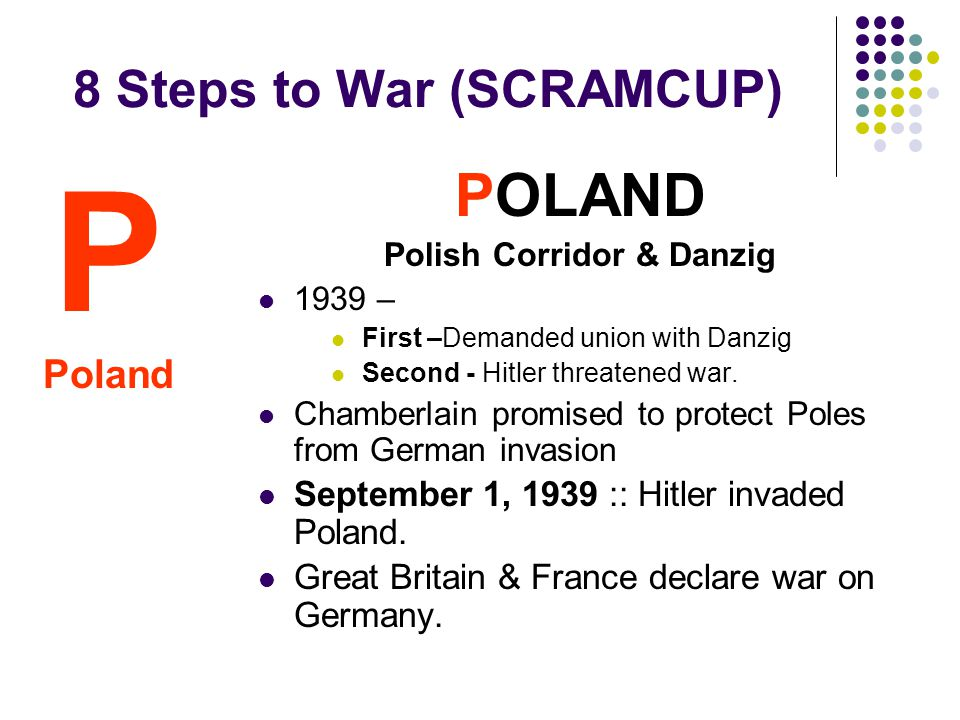8 Steps to War (SCRAMCUP) POLAND Polish Corridor & Danzig 1939 – First –Demanded union with Danzig Second - Hitler threatened war.