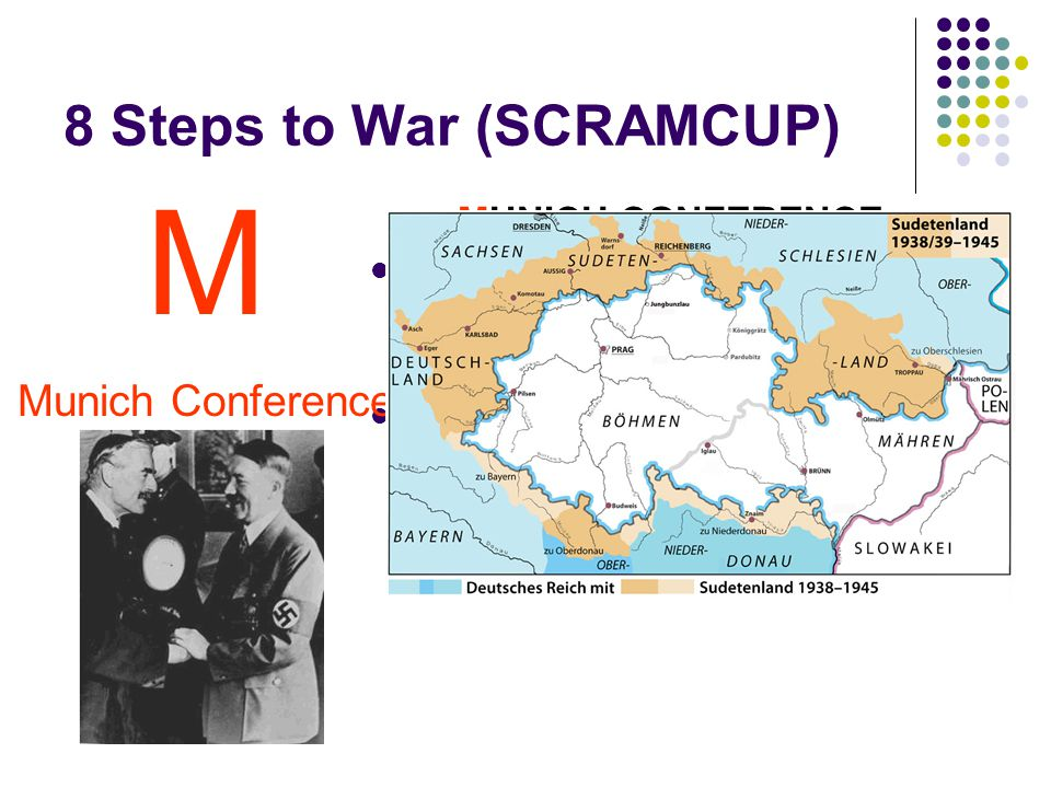 8 Steps to War (SCRAMCUP) MUNICH CONFERENCE Hitler demanded Sudetenland Sudetenland = borders of Czechoslovakia, mainly inhabited by ethnic Germans 1938 First: Hitler demands union w/ Germany Second: Hitler plans invasion.