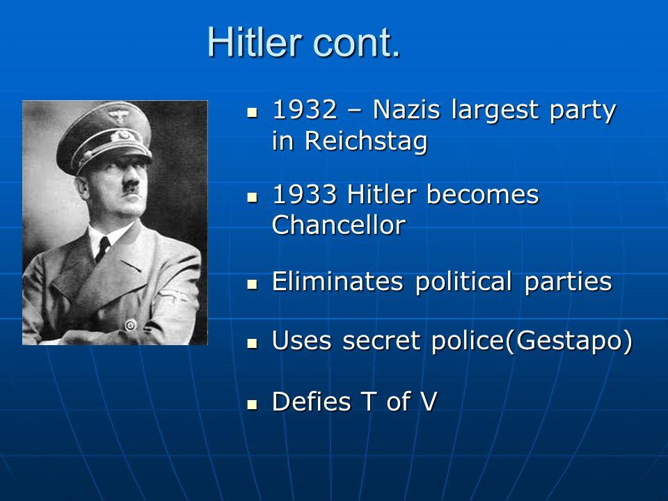Hitler cont.