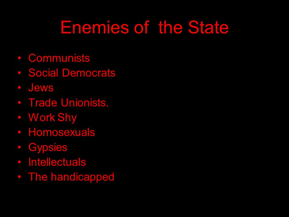 Enemies of the State Communists Social Democrats Jews Trade Unionists.