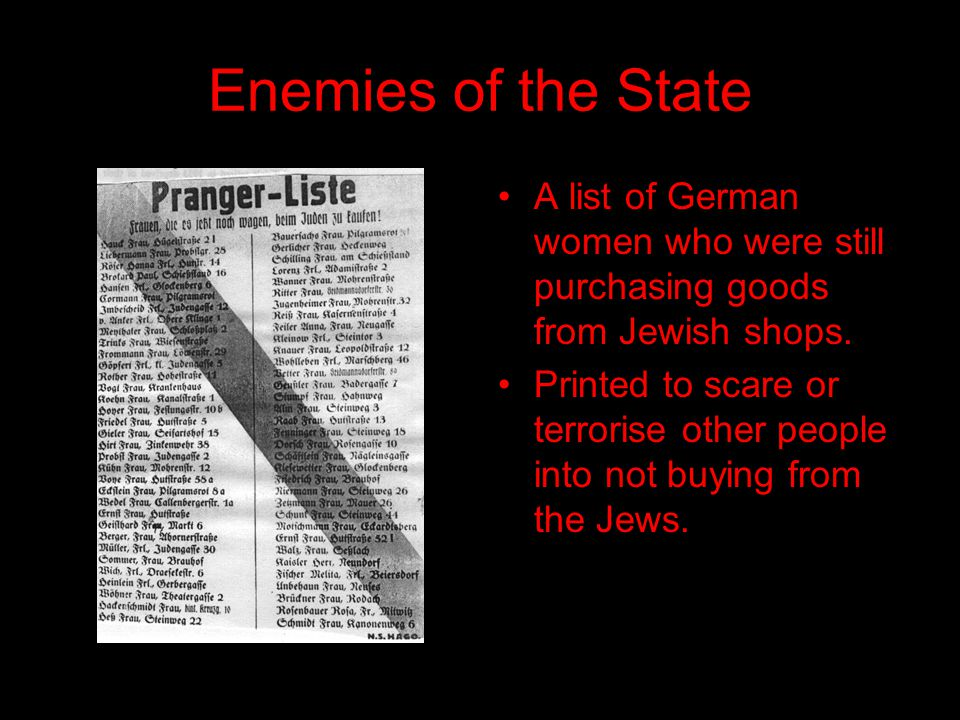 Enemies of the State A list of German women who were still purchasing goods from Jewish shops.