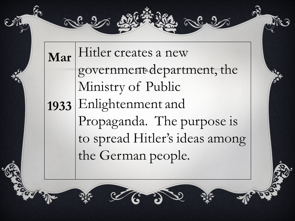 Hitler creates a new government department, the Ministry of Public Enlightenment and Propaganda. The purpose is to spread Hitler's ideas among the Ger