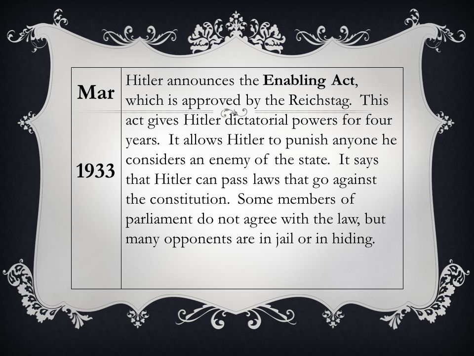 Hitler announces the Enabling Act, which is approved by the Reichstag.