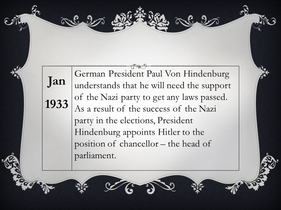 German President Paul Von Hindenburg understands that he will need the support of the Nazi party to get any laws passed. As a result of the success of
