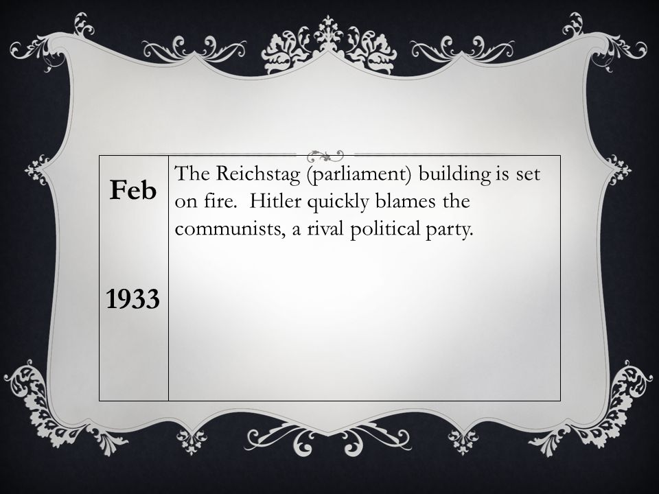 The Reichstag (parliament) building is set on fire. Hitler quickly blames the communists, a rival political party. Feb 1933