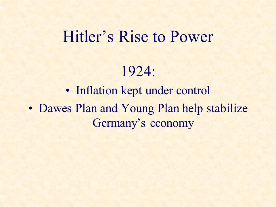 Hitler's Rise to Power 1924: Inflation kept under control Dawes Plan and Young Plan help stabilize Germany's economy