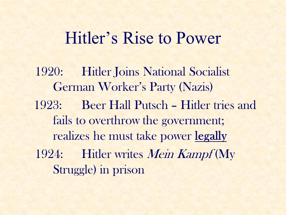 Hitler's Rise to Power 1920: Hitler Joins National Socialist German Worker's Party (Nazis) 1923: Beer Hall Putsch – Hitler tries and fails to overthro