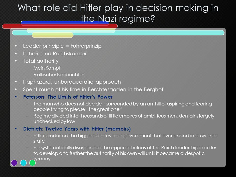 What role did Hitler play in decision making in the Nazi regime.