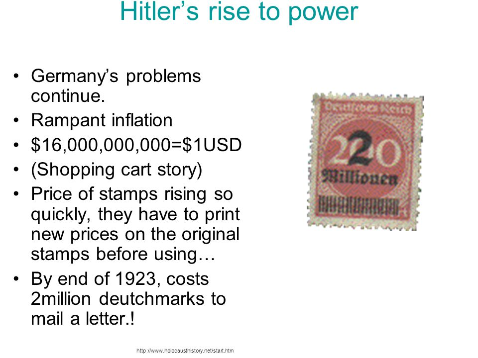 Hitler's rise to power Germany's problems continue. Rampant inflation $16,000,000,000=$1USD (Shopping cart story) Price of stamps rising so quickly, t