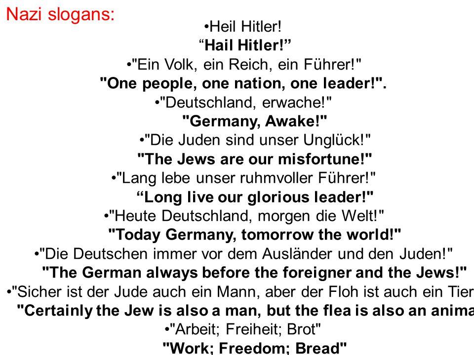 """Nazi slogans: Heil Hitler! """"Hail Hitler!"""""""