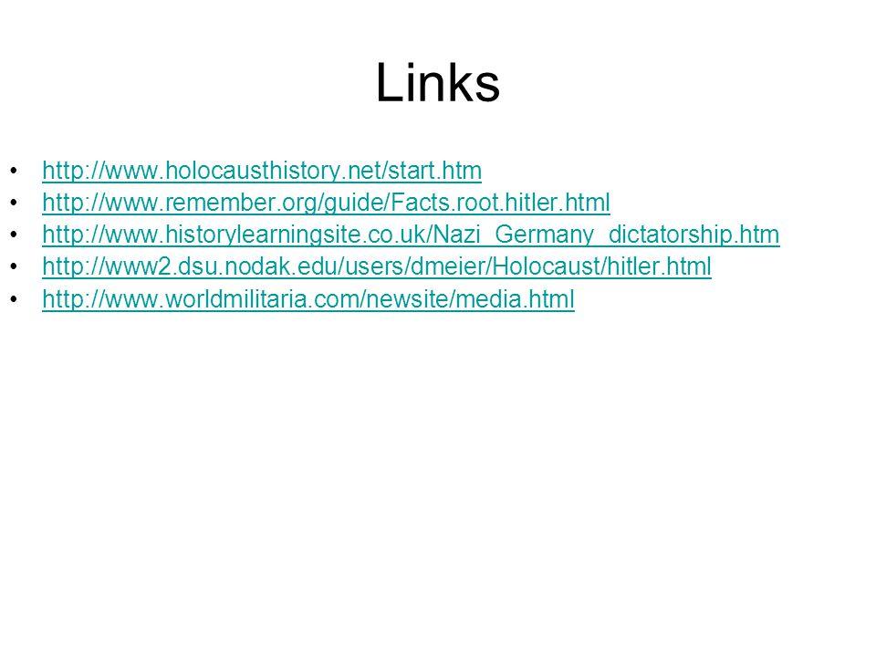 Links http://www.holocausthistory.net/start.htm http://www.remember.org/guide/Facts.root.hitler.html http://www.historylearningsite.co.uk/Nazi_Germany