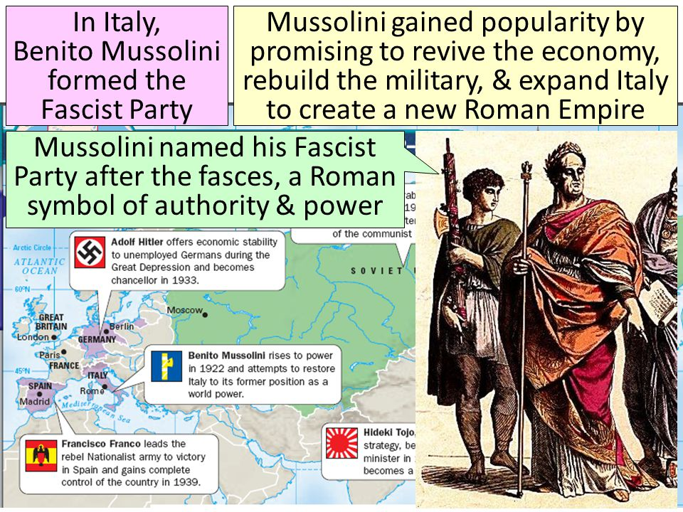 In Italy, Benito Mussolini formed the Fascist Party Mussolini gained popularity by promising to revive the economy, rebuild the military, & expand Ita