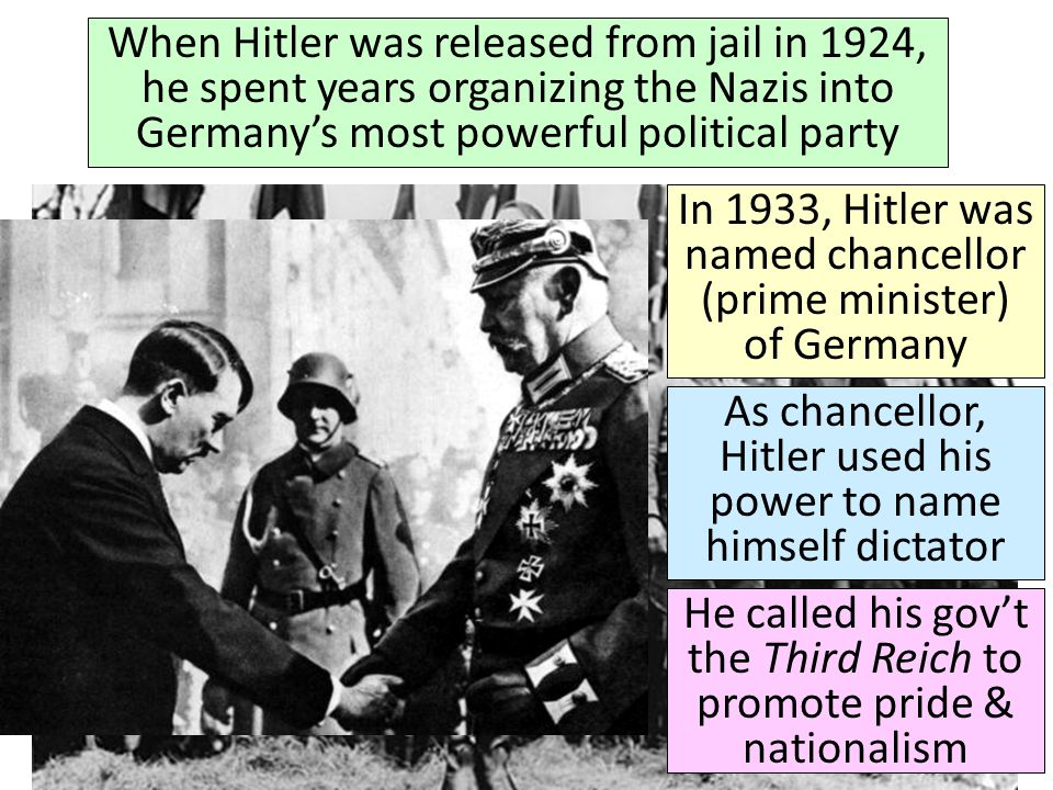When Hitler was released from jail in 1924, he spent years organizing the Nazis into Germany's most powerful political party In 1933, Hitler was named