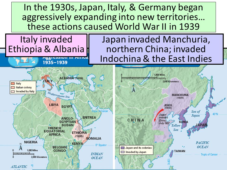 In the 1930s, Japan, Italy, & Germany began aggressively expanding into new territories… these actions caused World War II in 1939 Japan invaded Manch