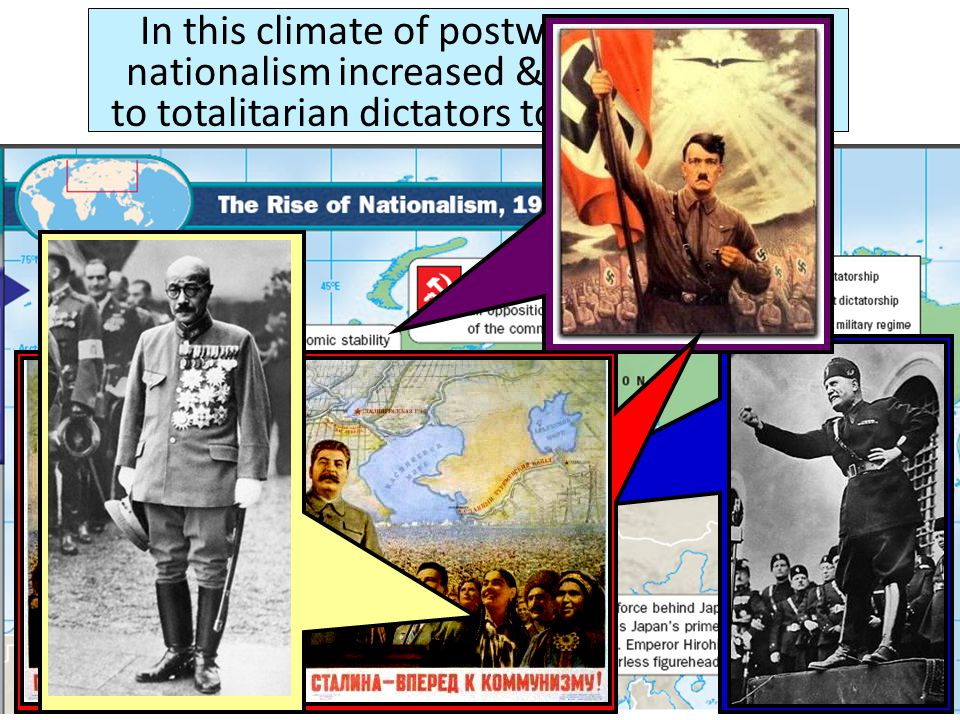 Totalitarian leaders are dictators who control all aspects of the government & the lives of the citizens Totalitarian leaders gained support by promising jobs, promoting nationalism, & using propaganda Dictators held on to their power by using censorship, secret police, denying liberties, & eliminating opposing rivals or political parties