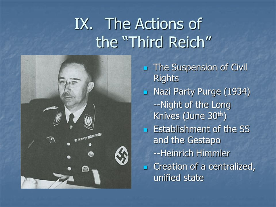 """IX.The Actions of the """"Third Reich"""" The Suspension of Civil Rights The Suspension of Civil Rights Nazi Party Purge (1934) Nazi Party Purge (1934) --Ni"""