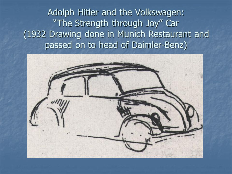 """Adolph Hitler and the Volkswagen: """"The Strength through Joy"""" Car (1932 Drawing done in Munich Restaurant and passed on to head of Daimler-Benz)"""
