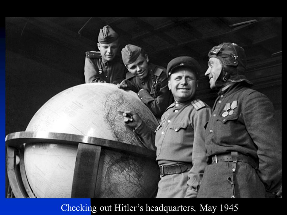 Checking out Hitler's headquarters, May 1945