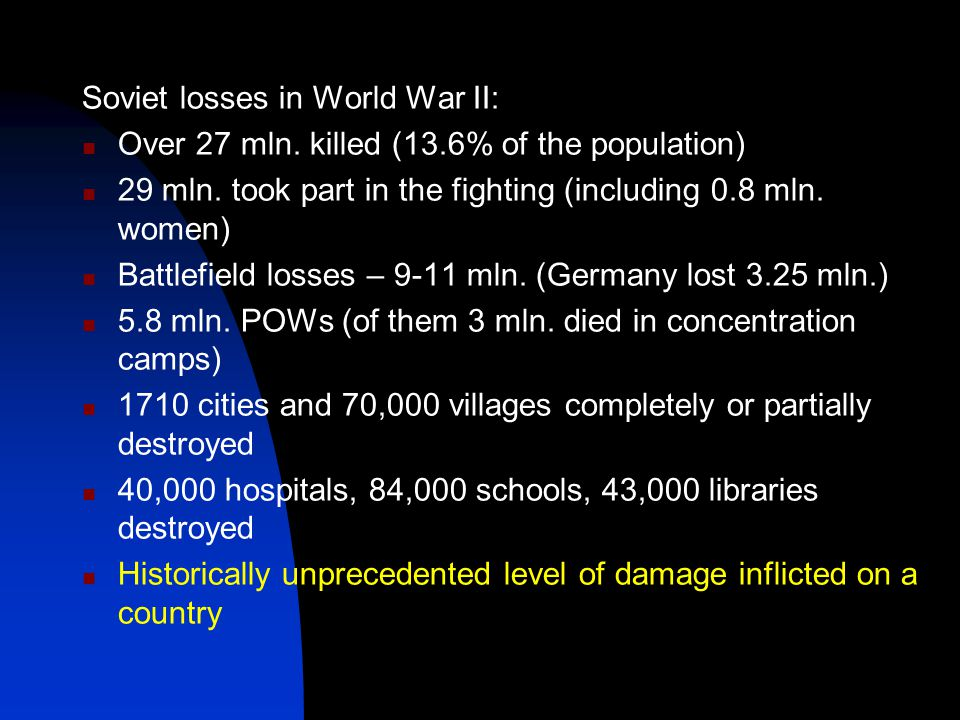 Soviet losses in World War II: Over 27 mln. killed (13.6% of the population) 29 mln.