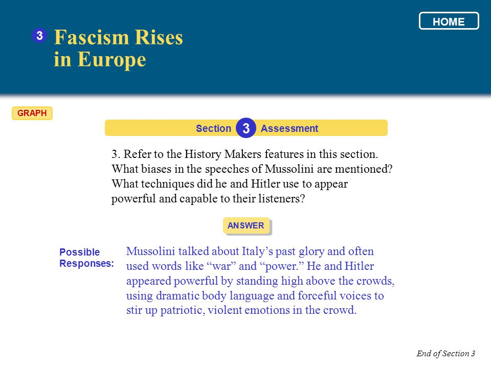 3. Refer to the History Makers features in this section. What biases in the speeches of Mussolini are mentioned? What techniques did he and Hitler use