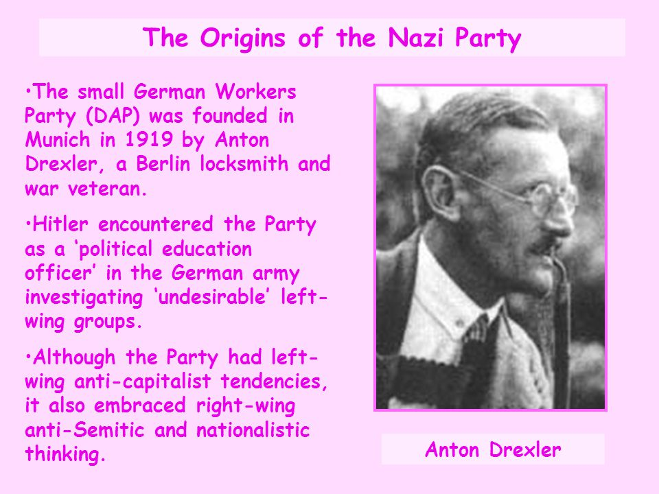 Origins of the Nazi Party Hitler joined the Party and together with Drexler, they drew up a 25 Point Programme outlining their aims.