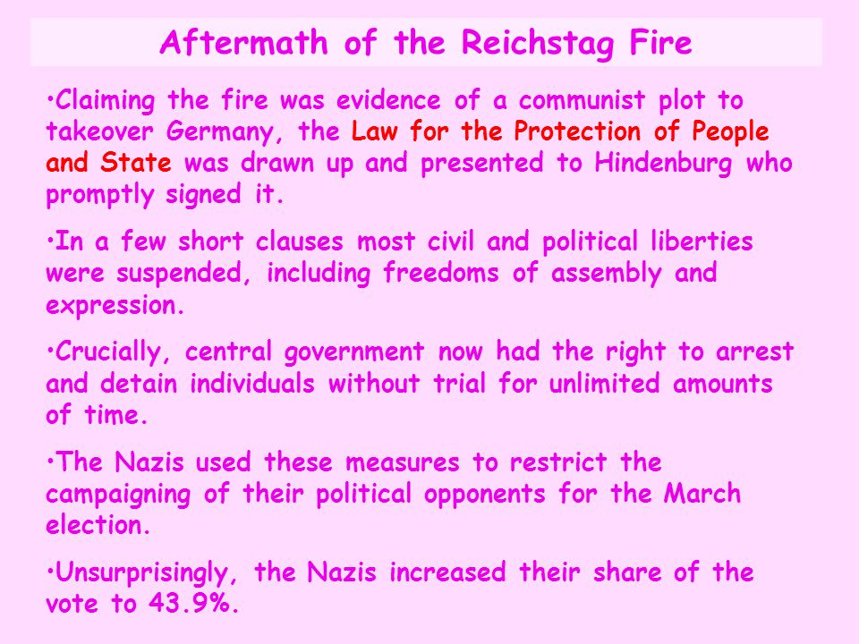 Claiming the fire was evidence of a communist plot to takeover Germany, the Law for the Protection of People and State was drawn up and presented to H