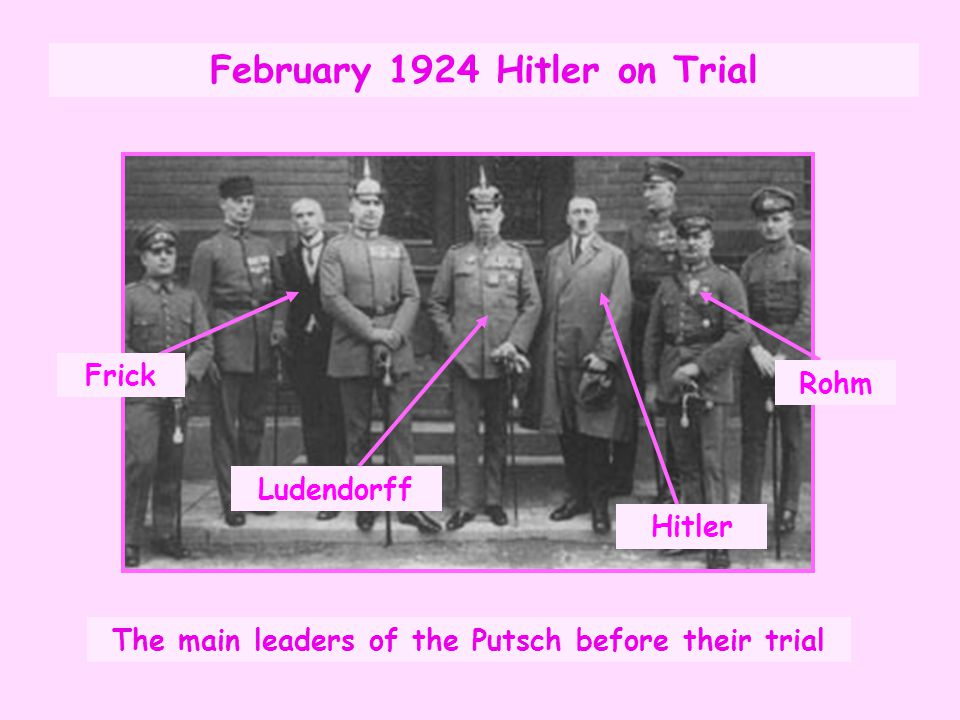 Outcome of the Trial Hitler was found guilty of treason, jailed and the NSDAP were banned.