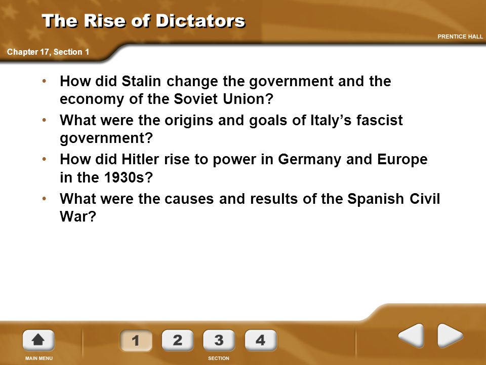 The Rise of Dictators How did Stalin change the government and the economy of the Soviet Union.