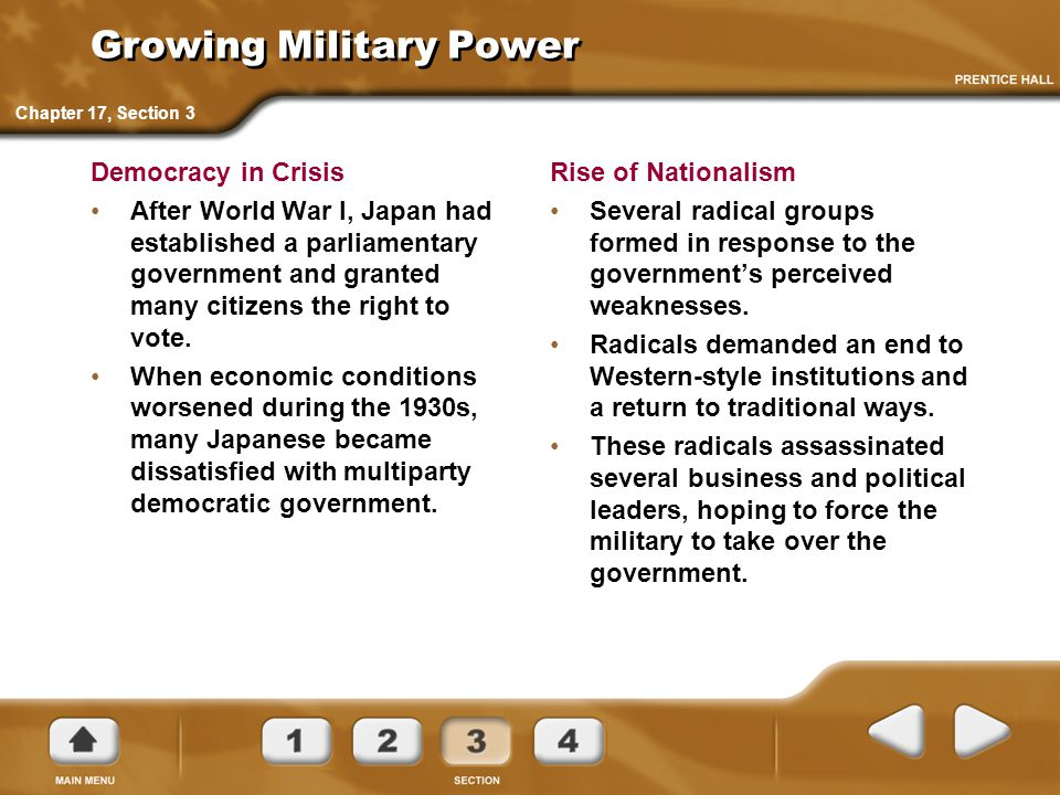 Growing Military Power Democracy in Crisis After World War I, Japan had established a parliamentary government and granted many citizens the right to vote.