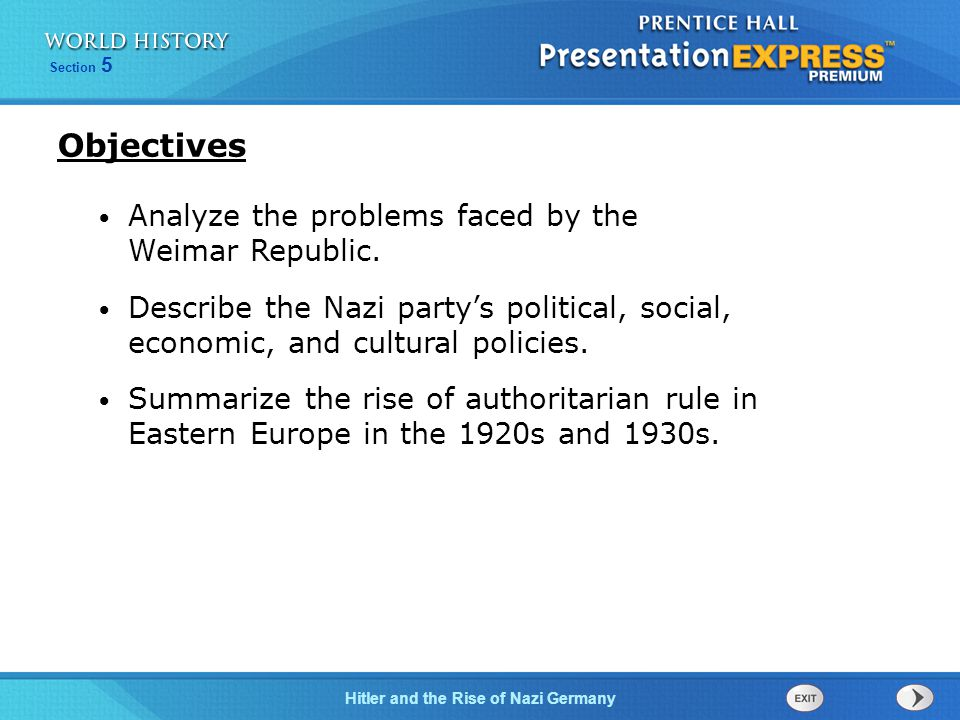 Hitler and the Rise of Nazi Germany Section 5 Objectives Analyze the problems faced by the Weimar Republic.