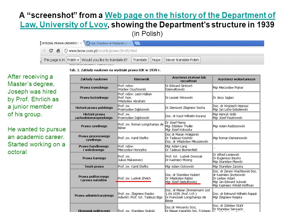 A screenshot from a Web page on the history of the Department ofWeb page on the history of the Department of Law, University of LvovLaw, University of Lvov, showing the Department's structure in 1939 (in Polish) After receiving a Master's degree, Joseph was hired by Prof.
