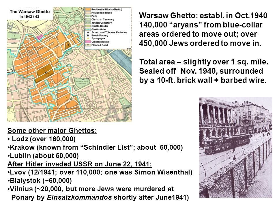 """Warsaw Ghetto: establ. in Oct.1940 140,000 """"aryans"""" from blue-collar areas ordered to move out; over 450,000 Jews ordered to move in. Total area – sli"""