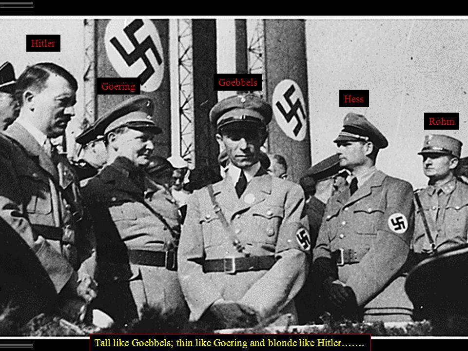 Hitler Goering Goebbels Hess Rohm Tall like Goebbels; thin like Goering and blonde like Hitler…….