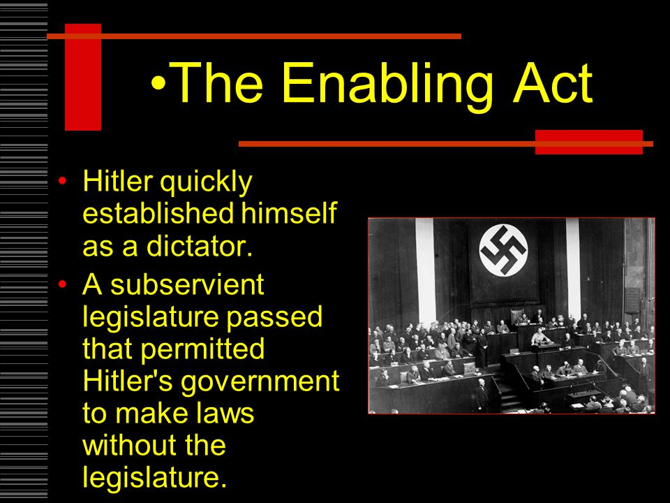 The Enabling Act Hitler quickly established himself as a dictator.