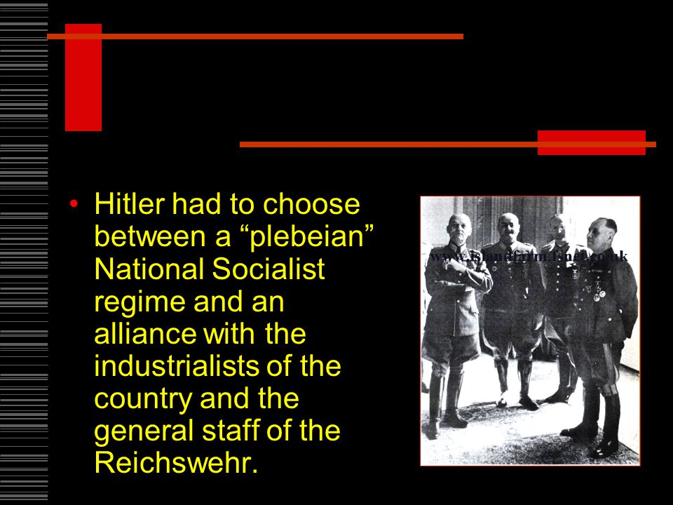 Hitler had to choose between a plebeian National Socialist regime and an alliance with the industrialists of the country and the general staff of the Reichswehr.