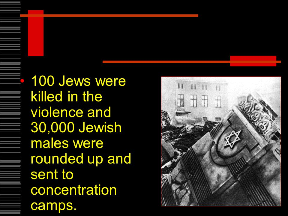 100 Jews were killed in the violence and 30,000 Jewish males were rounded up and sent to concentration camps.