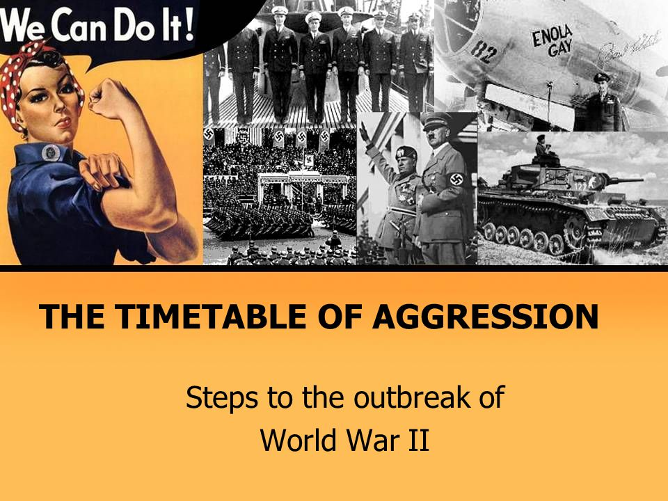 THE TIMETABLE OF AGGRESSION Steps to the outbreak of World War II