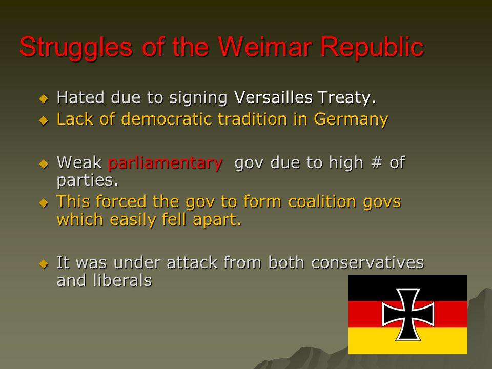 Struggles of the Weimar Republic  Hated due to signing Versailles Treaty.