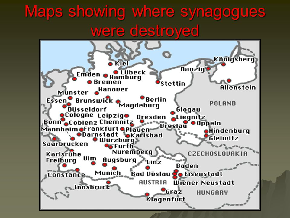 Maps showing where synagogues were destroyed