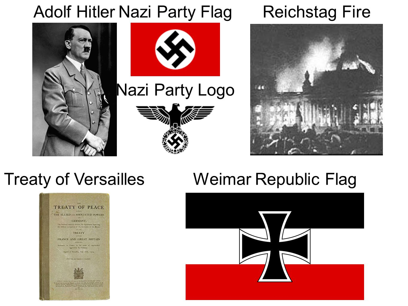 Adolf HitlerNazi Party Flag Nazi Party Logo Reichstag Fire Treaty of VersaillesWeimar Republic Flag