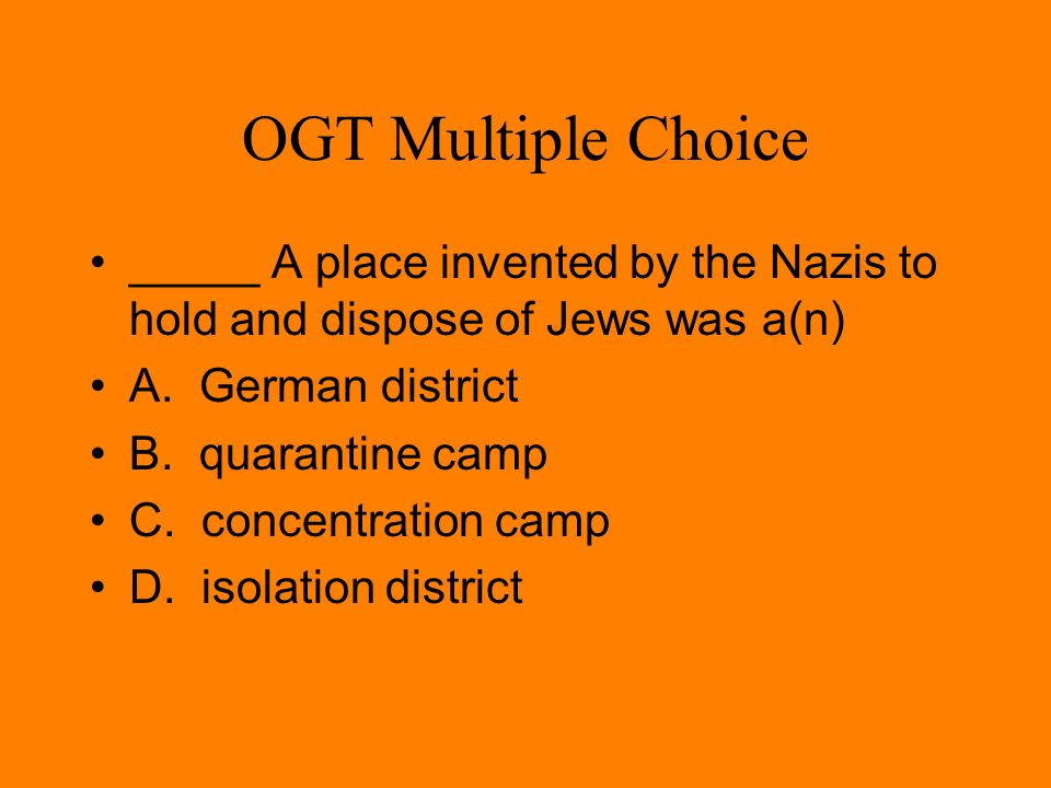 OGT Multiple Choice In the 1930's, the U.S.